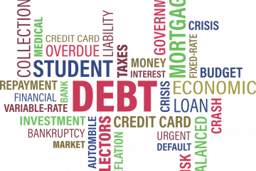 word collage of debt and student related terms